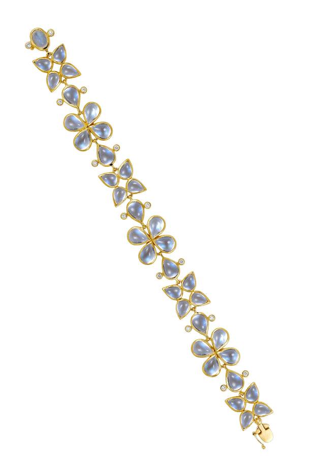 Temple St. Clair 18k Flower Royal Blue Moonstone and Diamond Bracelet