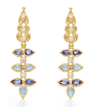 Temple St. Clair 18k Yellow Gold Sapphire, Diamond and Moonstone Drops