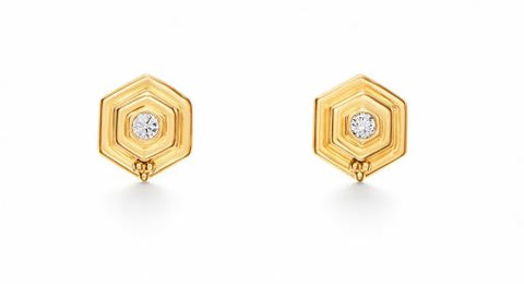 Temple St. Clair 18k Yellow Gold Small Hive Diamond Studs