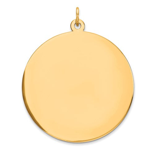 14k Yellow Gold Round Engravable Charm