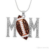 Skyrim Volleyball & Football & Rugby & Tennis & Baseball Mom Crystal Sports Charm Necklace