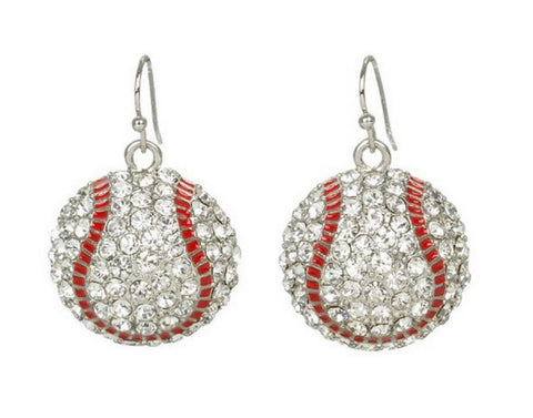 Baseball Mom Earrings Dangle - Crystal Rhinestone Silver Bling (Qty Discounts) Sport and Fashion Drop Pair by Kenz Laurenz