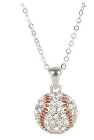 Baseball Mom Necklace - Crystal Rhinestone Silver Sport Pendant Girls fashion