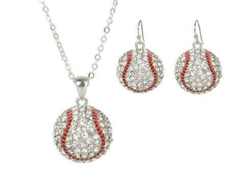 Baseball Mom Rhinestone Necklace and Hook Earring Set