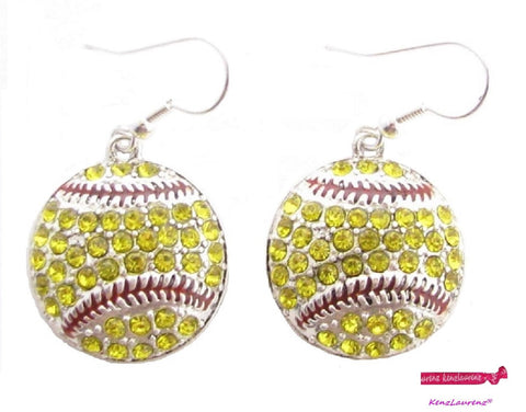 Softball Mom Crystal Rhinestone Hook Earrings