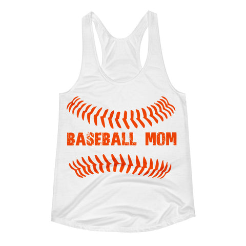 Baseball Mom Baseball Ball Seams Women's Racerback Tank