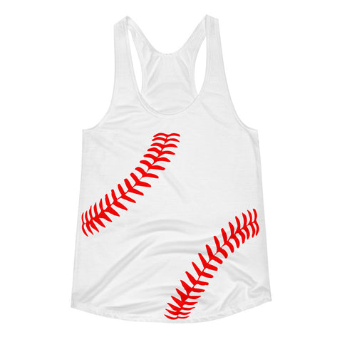 Baseball Mom Baseball Seams Women's Racerback Tank
