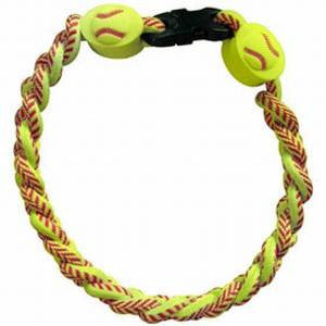 Softball Mom Titanium Ionic Braided Bracelet for Moms and Softball Players