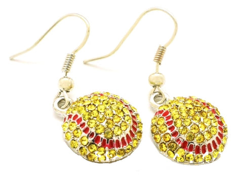 Softball Earrings Hook - Crystal Rhinestone Silver Bling Yellow Fastpitch Sport and Fashion Drop