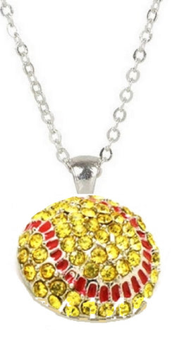Softball Mom Softball Necklace -Crystal Rhinestone Silver Bling Yellow Fastpitch Sport Pendant Girls fashion