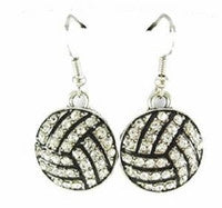 Volleyball Mom Crystal Rhinestone Hook Earrings