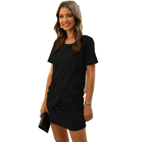 Ruched Short Dress - Royal Couture Inc