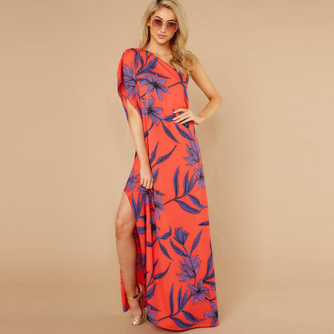 One-shoulder Floral Printed Long Split Maxi Dress - Royal Couture Inc
