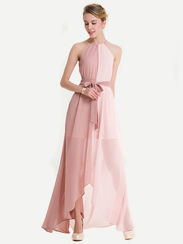 Two Tone Dip Hem Chiffon Dress - Royal Couture Inc