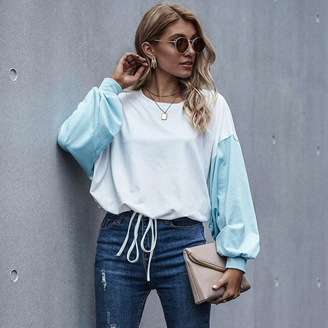 Patchwork Color Long Sleeve Women Tops