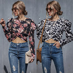 Puff Sleeve Wrap Printed Tops Blouse