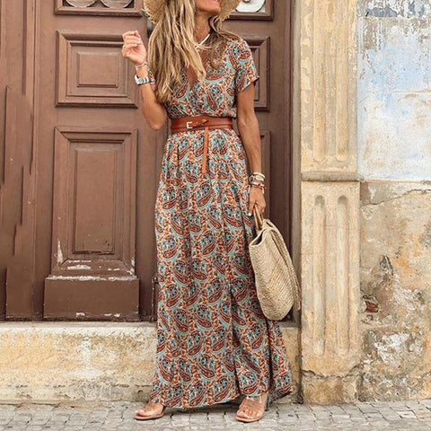 Summer  Short Sleeve Long Dress - Royal Couture Inc