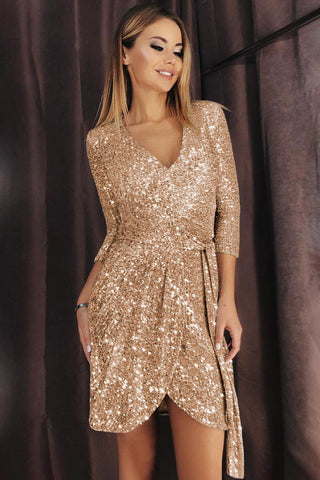 Apricot 3/4 Sleeve V Neck Sequin Dress - Royal Couture Inc