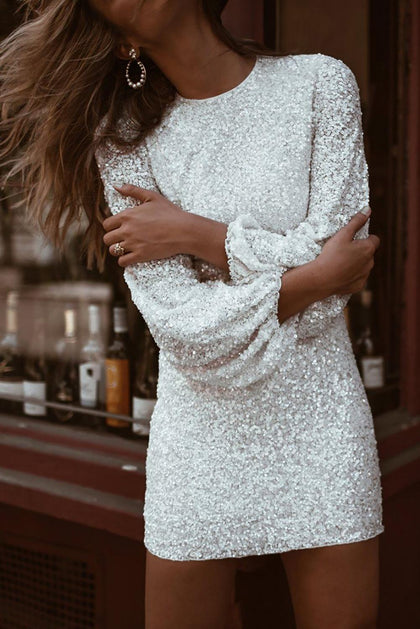 Chic White Puffy Sleeve Sequin Short Dress - Royal Couture Inc