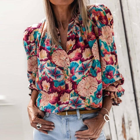 Floral Print Shirt Blouse Long Sleeve Loose Tops