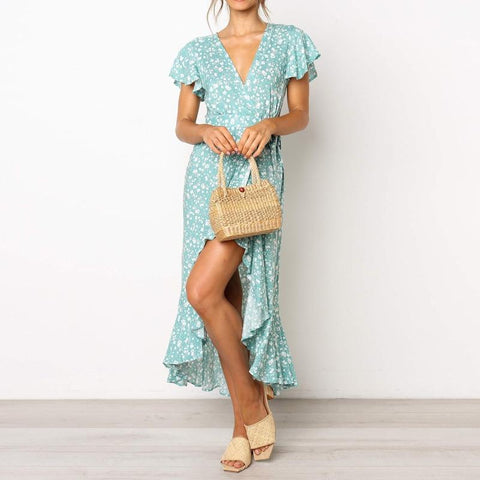 Elegant Floral Print Long Dress Summer Short Sleeve Boho Beach Dress - Royal Couture Inc