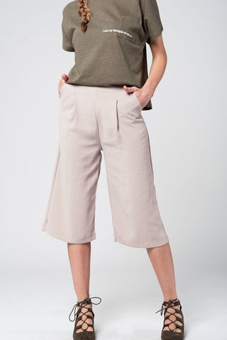 Tailored Beige Culotte With Pockets - Royal Couture Inc