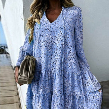 Sexy V- Neck Floral Print Elegant Flare Long Sleeve Boho Dress - Royal Couture Inc