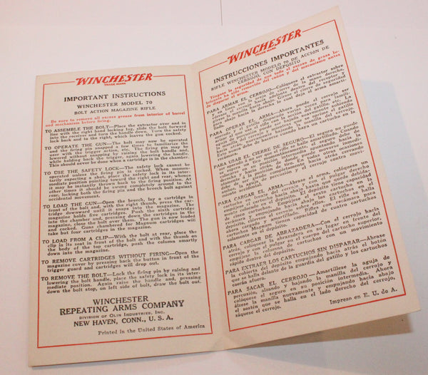 "Winchester Model 70 ""Important Instructions"" English / Spanish Pamphlet"