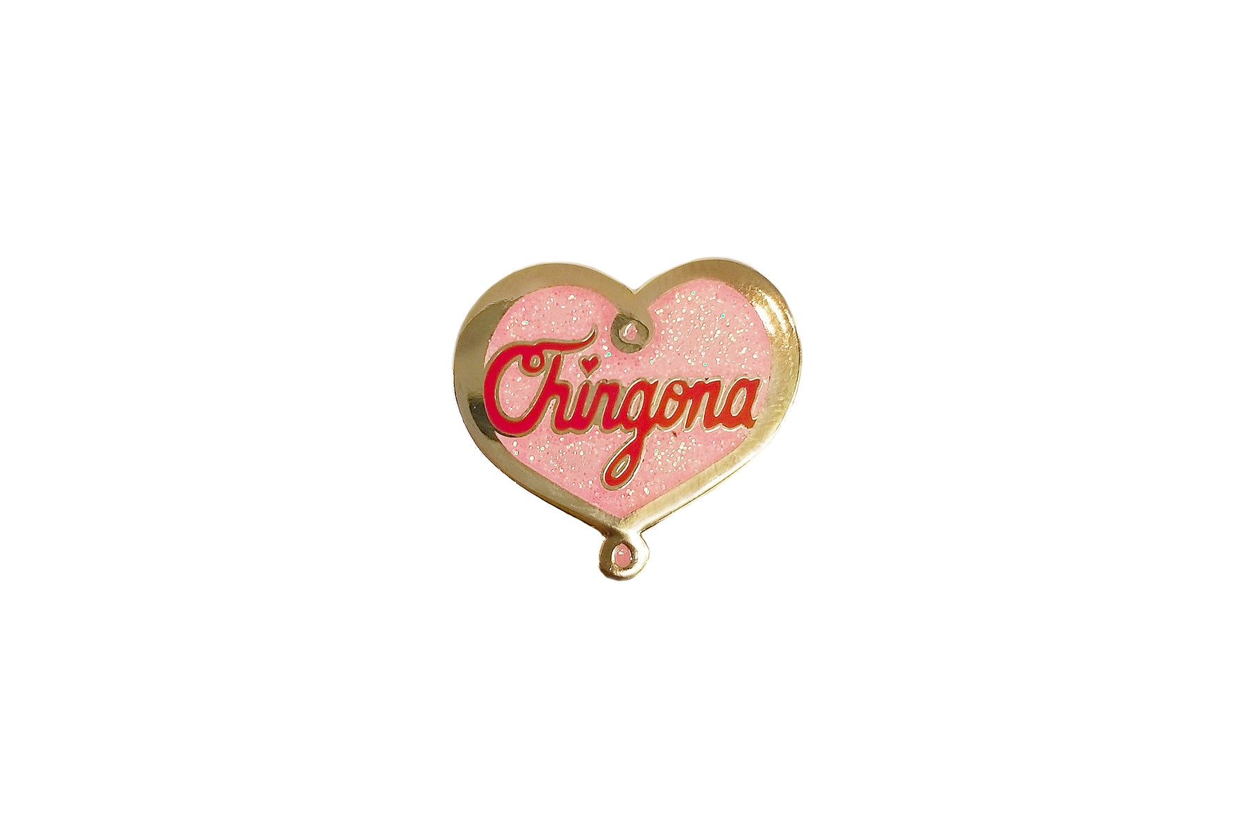 Chingona Glitter Heart Pin