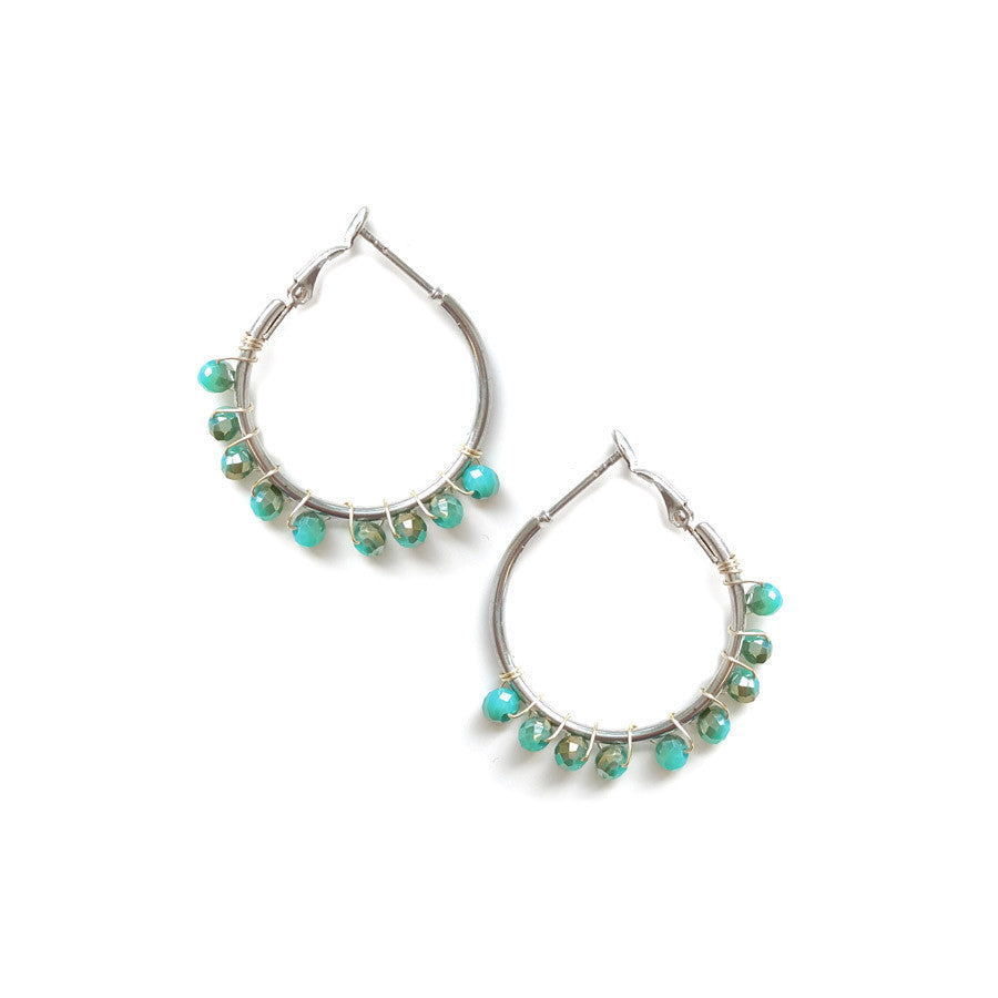 Mini Crystal Beaded Hoops
