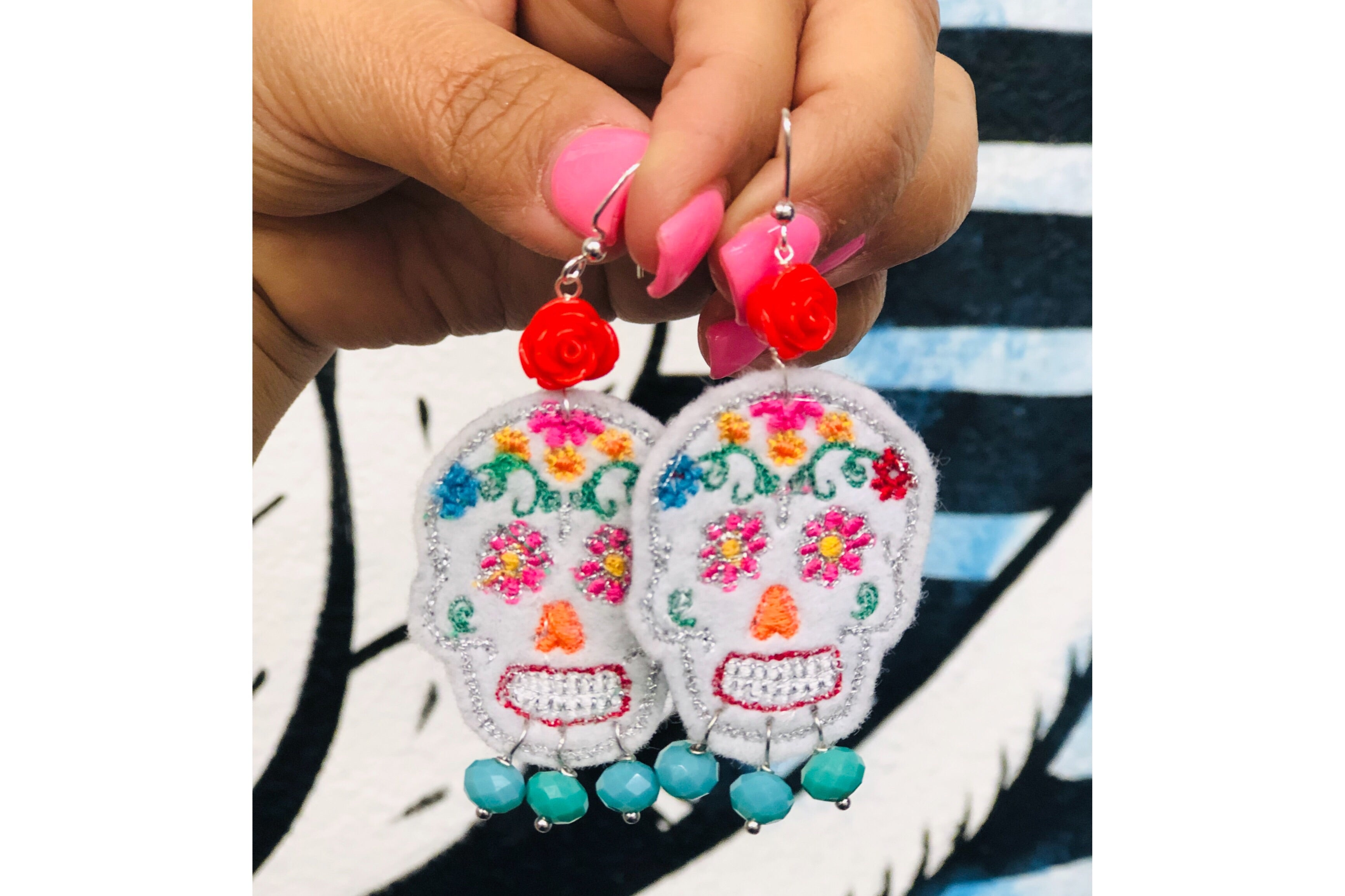 Sugar Skull Embroidered Earrings