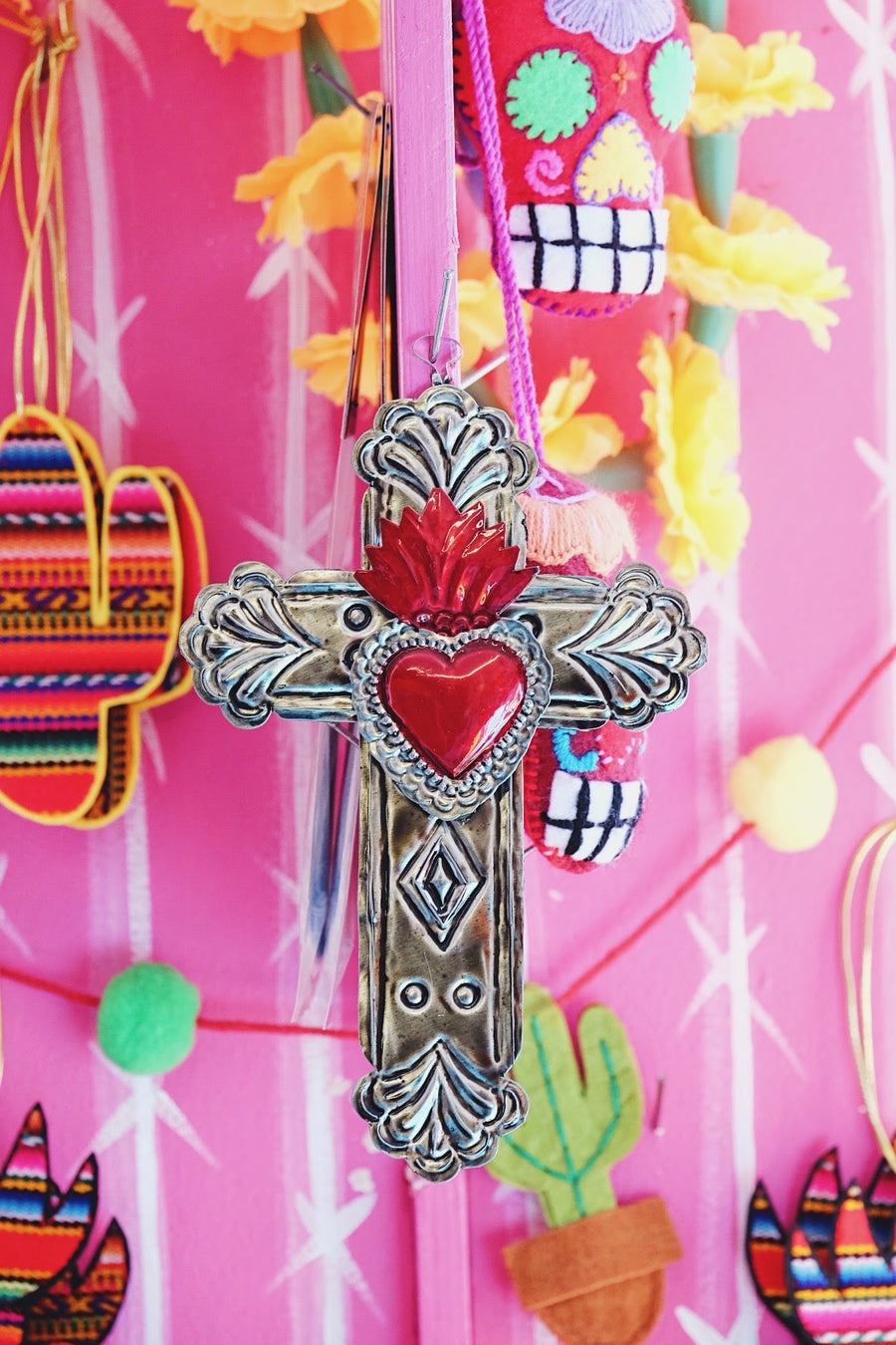 Tin Sacred Heart Cross
