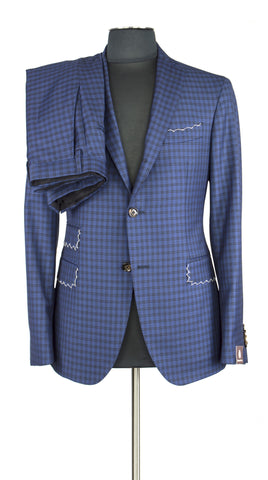 Windowpane Blue Suit