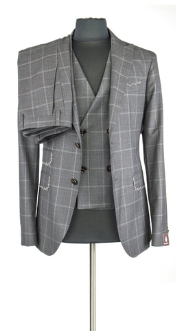 Grey Windowpane Three Piece