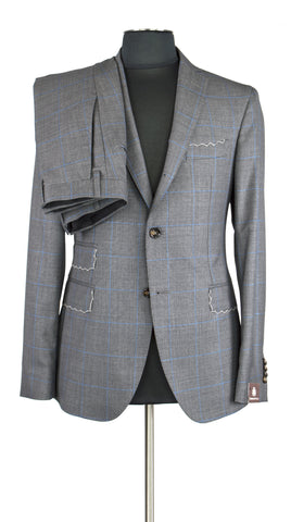 Windowpane Grey and Blue Stripe Suit