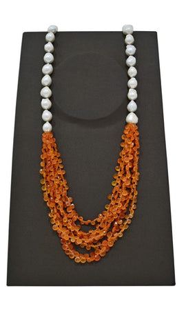 Orange White Pearl Necklace