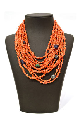 Orange Blue Pearl Necklace