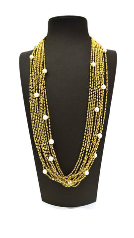 Gold Small White Pearl Necklace