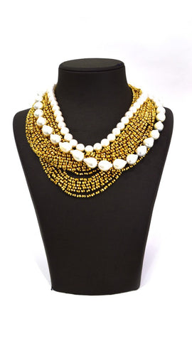 Gold White Pearl Necklace