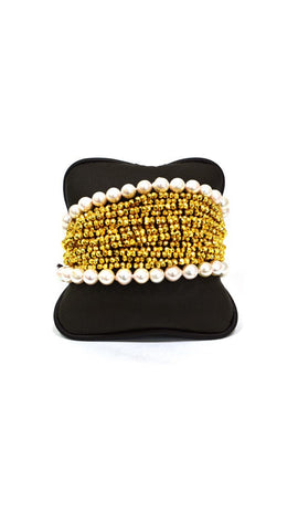 Yellow and White Pearls Bracelet