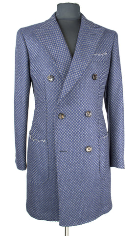 Blue and Grey Square Overcoat