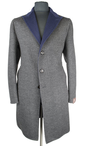 Grey with Blue Color Overcoat