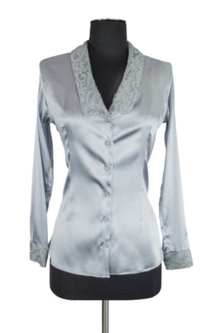 Silver Lace Trim Blouse