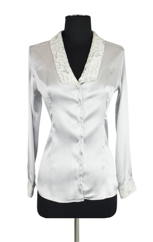 White Lace Trim Blouse