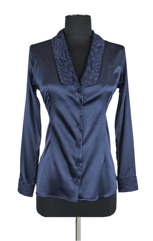 Navy Blue Lace Trim Blouse