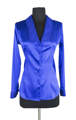 Royal Blue Lace Trim Blouse