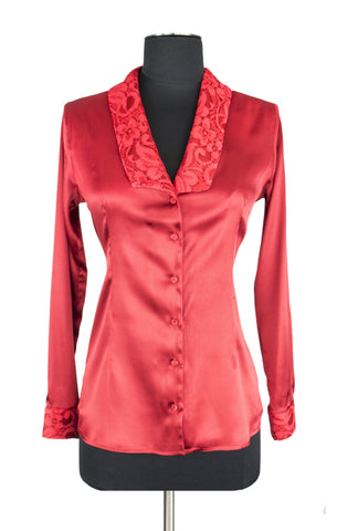 Red Lace Trim Blouse