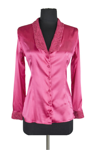 Hot Pink Lace Trim Blouse