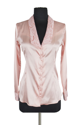 Light Pink Lace Trim Blouse