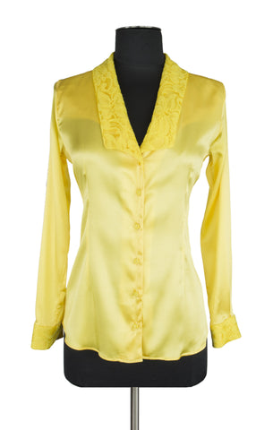Yellow Lace Trim Blouse